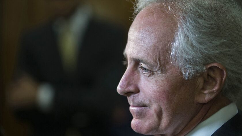 U.S. Sen. Bob Corker (R-Tenn.), co-author of a new proposed AUMF, speaks with reporters outside his office on Sept. 26, 2017.