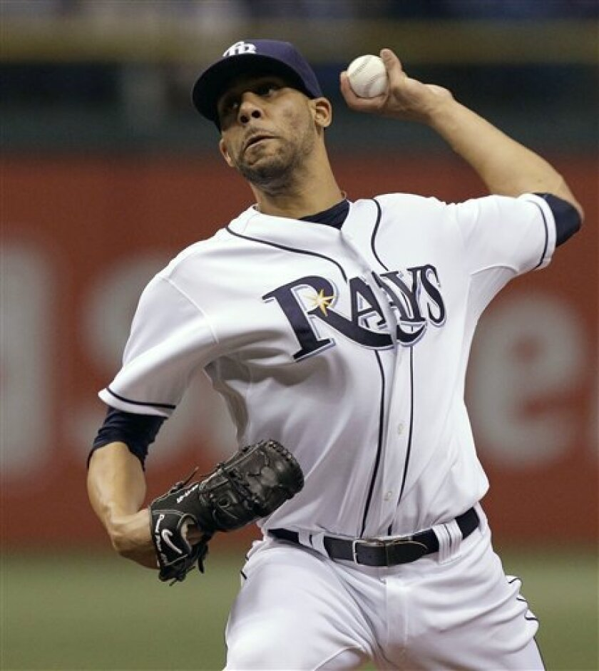 Tampa Bay Rays starting pitcher David Price delivers a first-inning pitch to the Baltimore Orioles during a baseball game Tuesday, Sept. 28, 2010, in St. Petersburg, Fla. (AP Photo/Chris O'Meara)