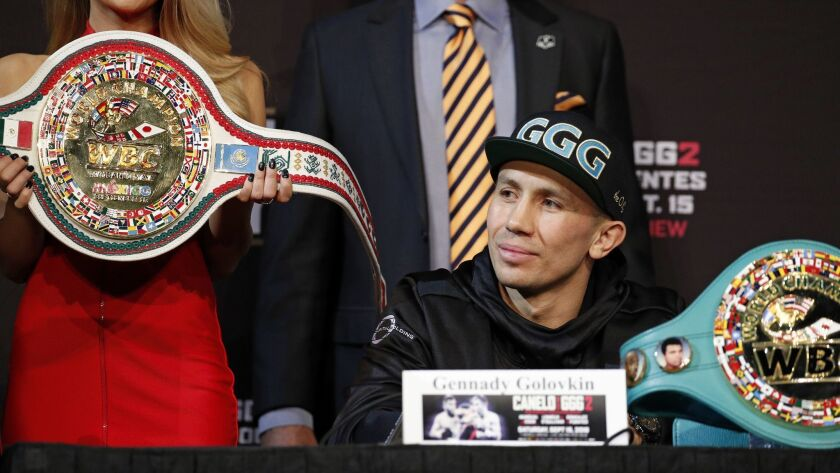 Gennady Golovkin listens during a news conference Wednesday, Sept. 12, 2018, in Las Vegas. Golovkin