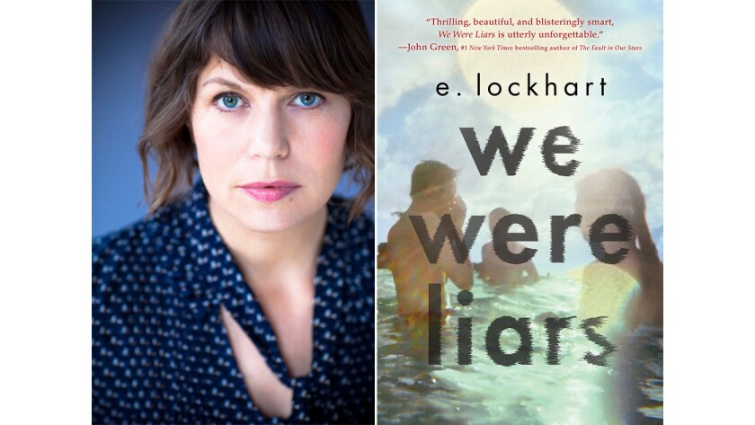 """Author E. Lockhart and the cover of her book, """"We Were Liars."""""""