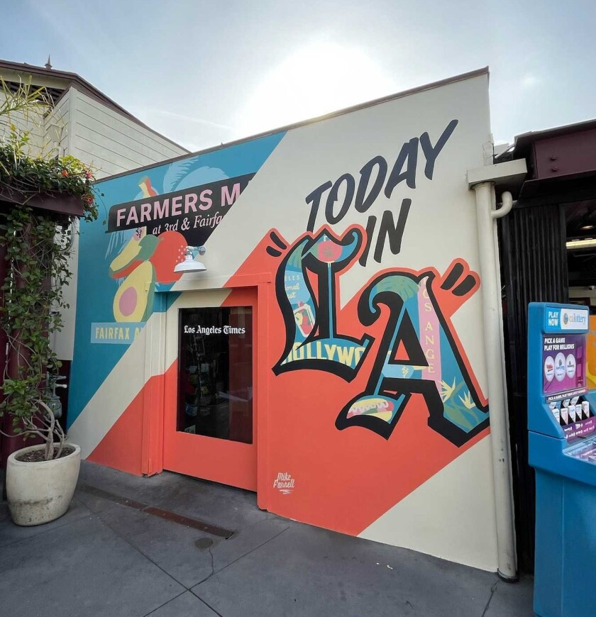 The new mural lends itself to a photo moment, where visitors can capture their trip to the Farmers Market Newsstand.