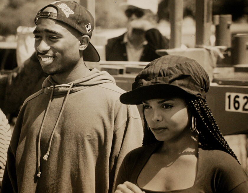 """Tupac Shakur, left, and Janet Jackson as Lucky and Justice in John Singleton's 1993 street romance """"Poetic Justice."""""""