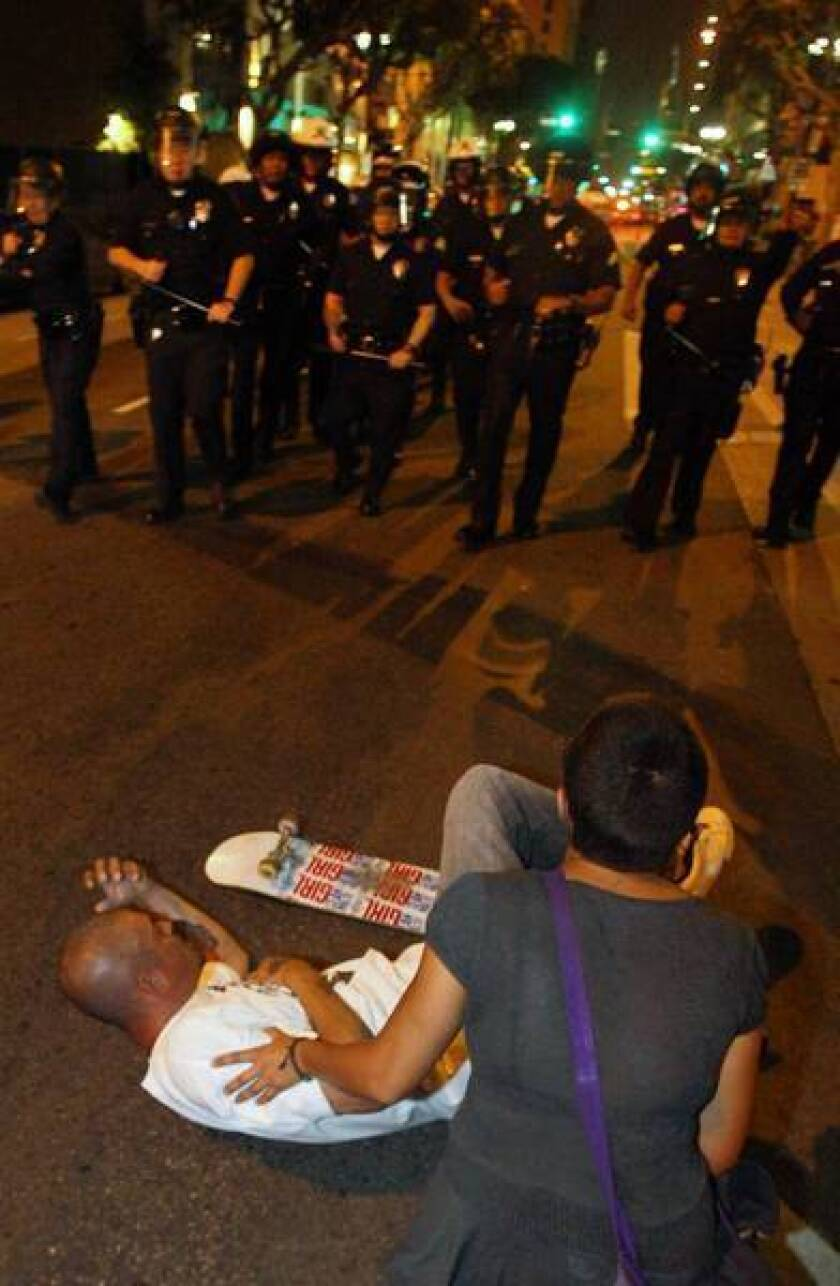 Chalk draws Occupy L.A., LAPD into conflict over a wider struggle