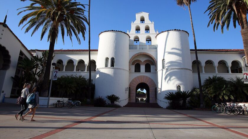 San Diego State University's campus is bordered by College Avenue, Interstate 8 and Montezuma Road.