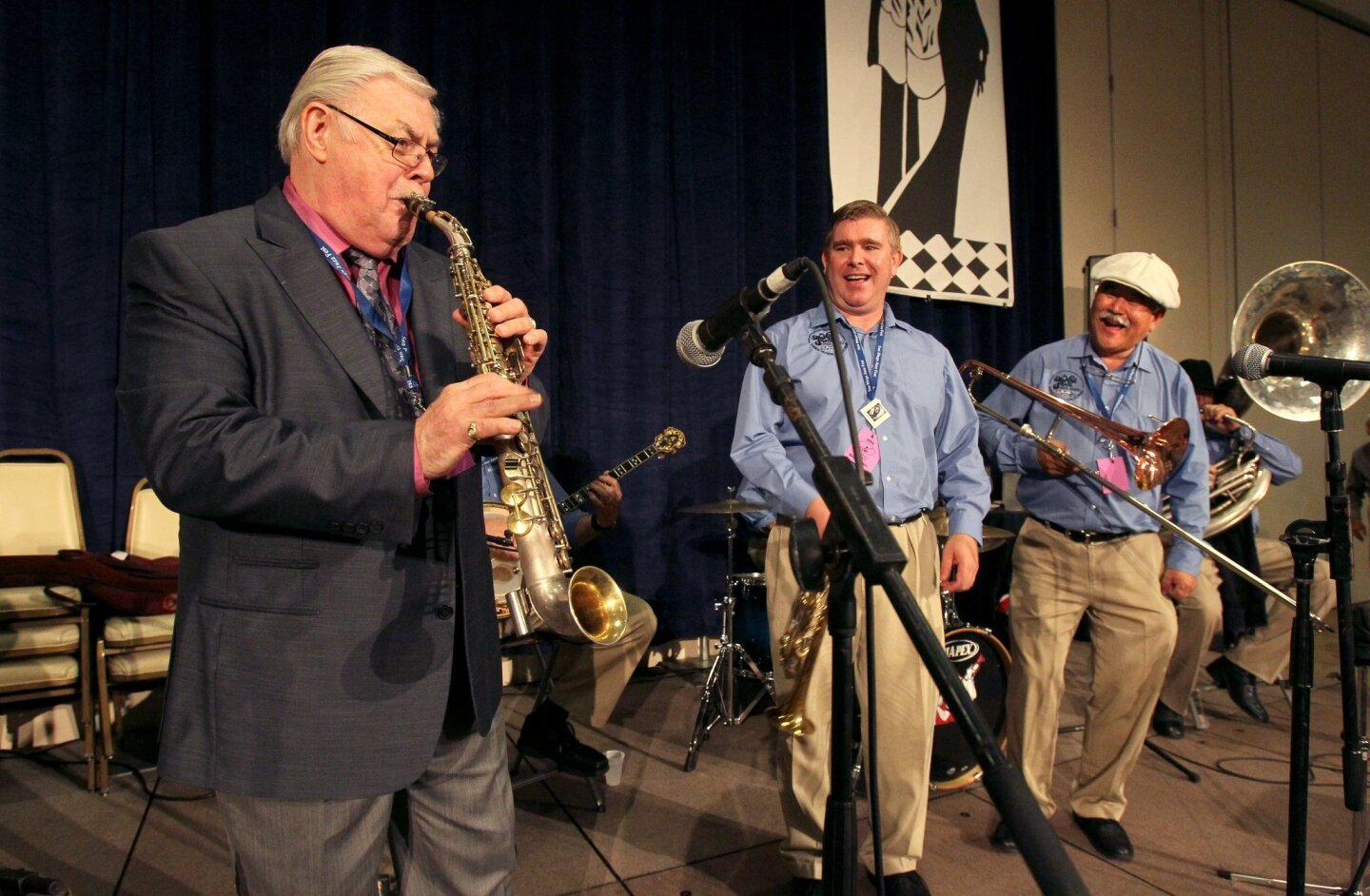 Jim Buchmann, at left, performs with the High Sierra Jazz Band at the 35th. Annual San Diego Jazz Fest.