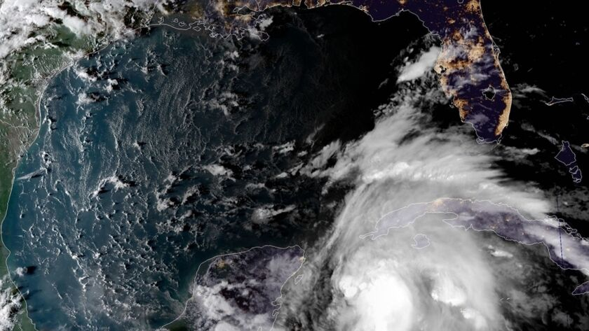 Hurricane Michael is seen in a satellite image as it heads toward the Florida Panhandle.