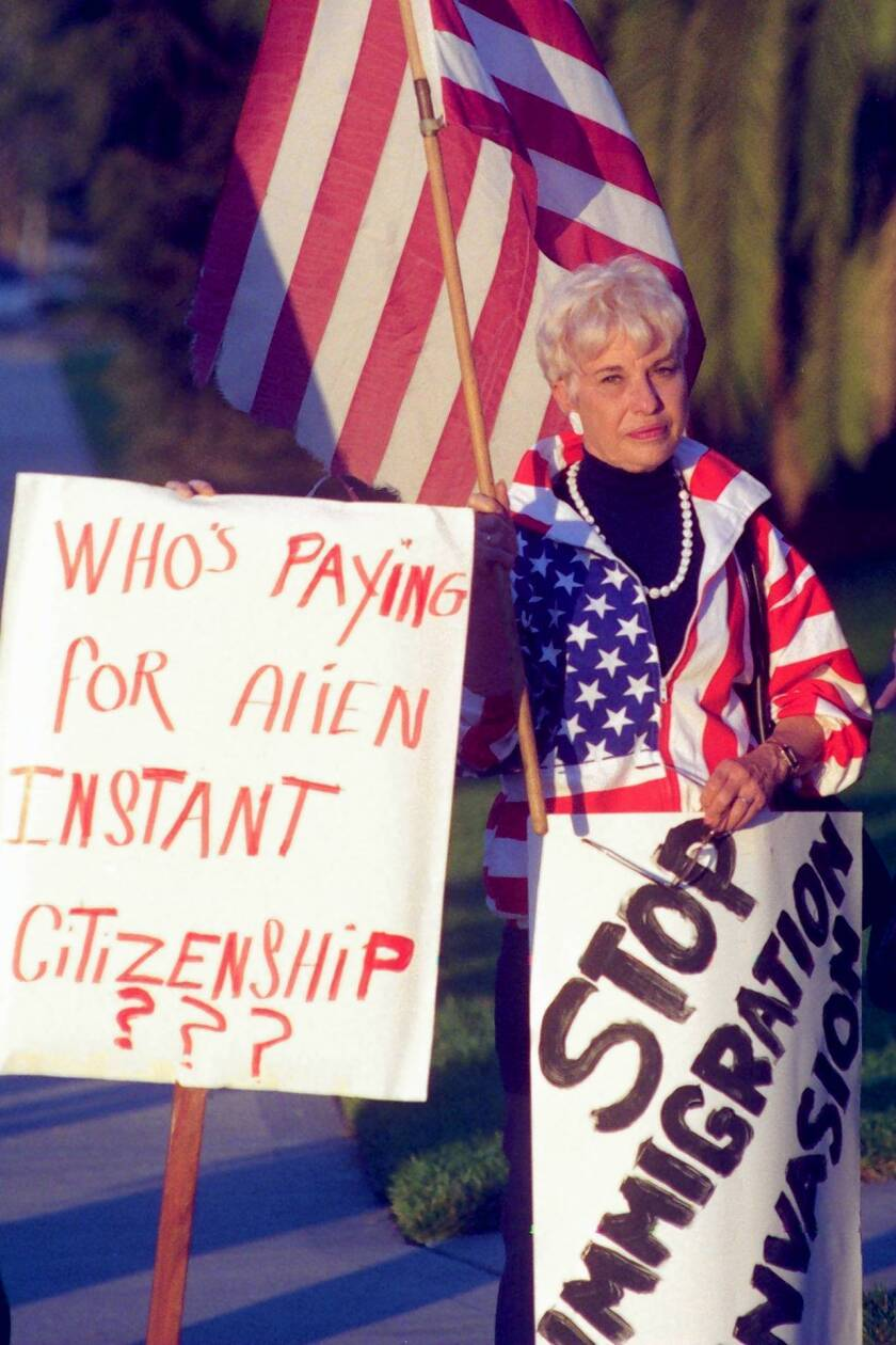 Barbara Coe, chairwoman of the California Coalition for Immigration Reform, at a demonstration in Irvine in 1996.