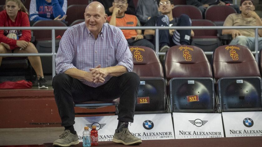 LOS ANGELES, CALIF. -- MONDAY, OCTOBER 8, 2018: L.A. Clippers owner Steve Ballmer watches the team d