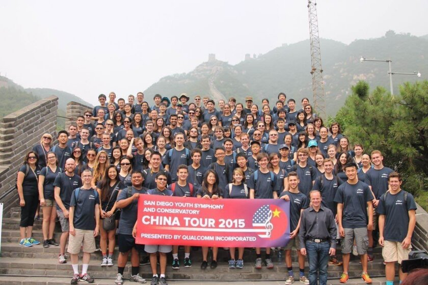 Members of the San Diego Youth Symphony & Conservatory at the Great Wall