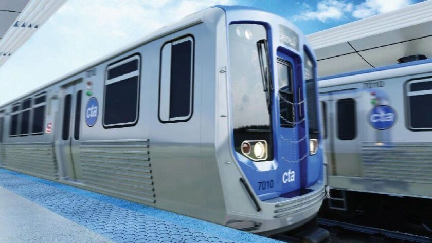 A rendering shows the exterior of the CSR Sifang America 7000 Series rail cars. Final assembly of the cars will be in Chicago.
