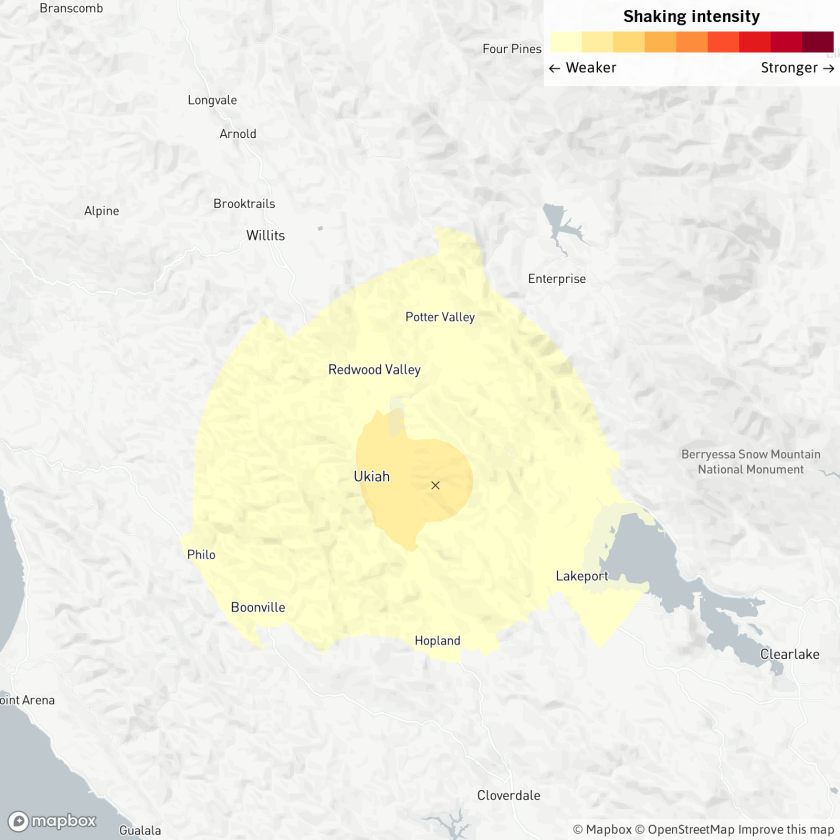 A map shows the quake epicenter near Ukiah.