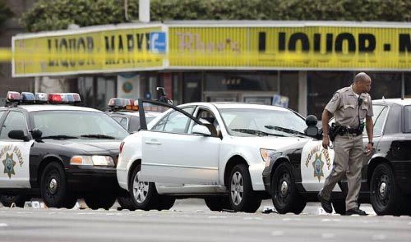 California Highway Patrol officers arrive in Gardena, where a man led police after a chase through Long Beach, Compton, West Los Angeles and downtown. The driver was arrested shortly after 4 a.m.
