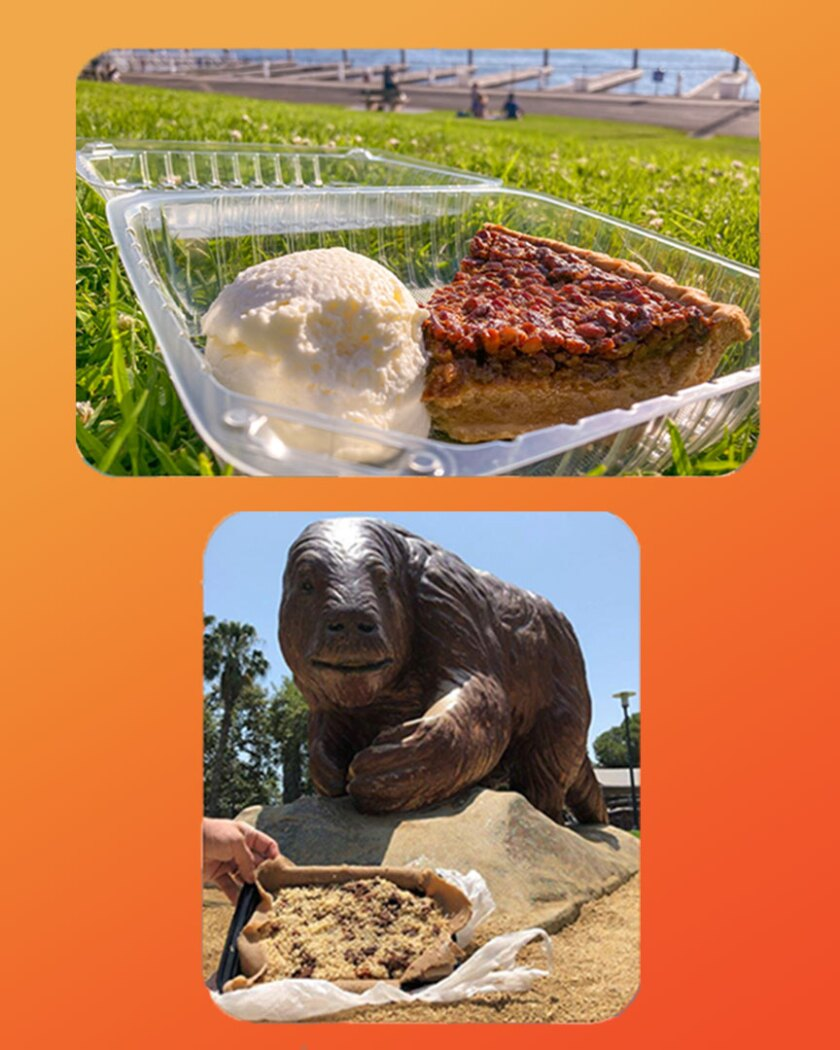 A piece of sweet potato pecan pie at Burton Chace Park and an  Ethiopian dish at La Brea tar pits