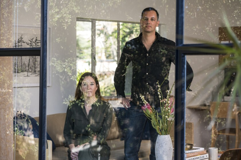 Michaele Simmering and Johannes Pauwen, the husband-and-wife team behind design company Kalon Studios, in their home in Highland Park, which they use as a laboratory for their work.