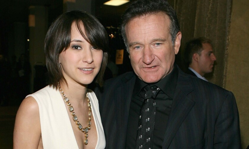 Zelda Williams and Robin Williams backstage during the People's Choice Awards at the Shrine Auditorium on Jan. 9, 2007, in Los Angeles.