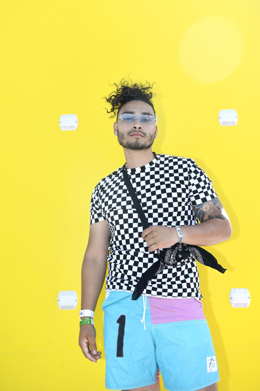 INDIO, CA-April 14, 2019: Nico Christilaw, 24 from San Diego shows off his style at the Coachella M