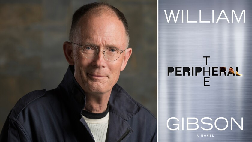 """Author William Gibson and the cover of his new novel """"The Peripheral."""""""