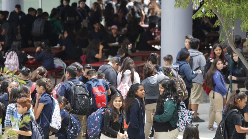 MAYWOOD, CALIF. -- TUESDAY, AUGUST 15, 2017: the Students on campus for the opening day of the $160