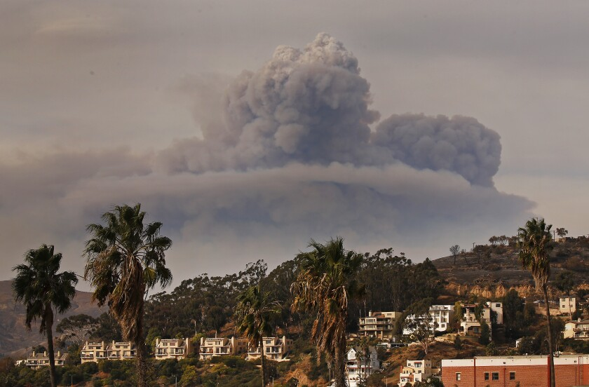 A huge cloud of dark smoke rises in the background above hillside homes, buildings and palm trees