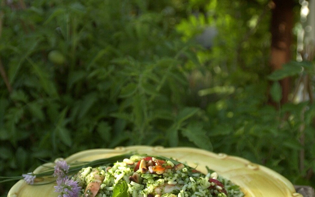 Herbal Rice Salad With Shrimp and Pine Nuts