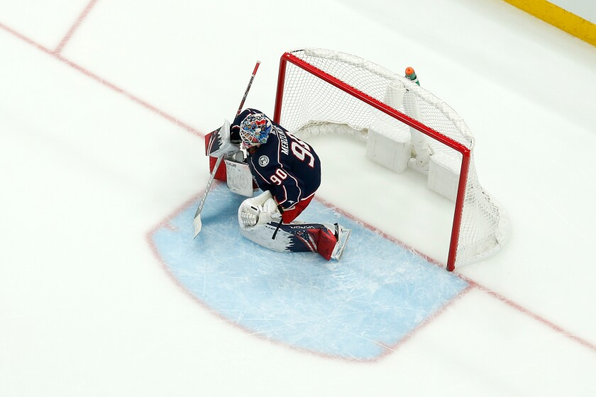 Blue Jackets goalie Elvis Merzlikins follows the puck during a recent game at Nationwide Arena in Columbus, Ohio.