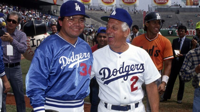 Fernando Valenzuela and Tom Lasorda in Monterrey for an exhibition game in March 1991.