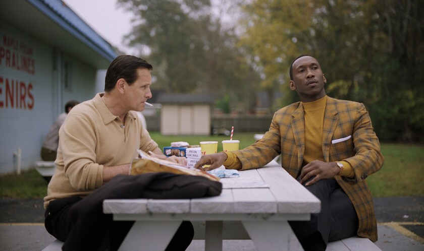 "Viggo Mortensen, left, as Tony Vallelonga and Mahershala Ali as Dr. Donald Shirley in ""Green Book."""