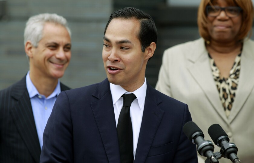 Housing and Urban Development Secretary Julian Castro announces a policy change at a news conference in Chicago July 8. The new rules provide guidance to help cities achieve the promises of the 1968 Fair Housing Act by promoting racially integrated neighborhoods.