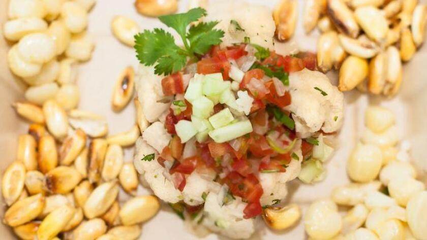 Como Ceviche's vegan ceviche dish is accompanied by sweet corn and toasted corn nuts. (Courtesy photo)