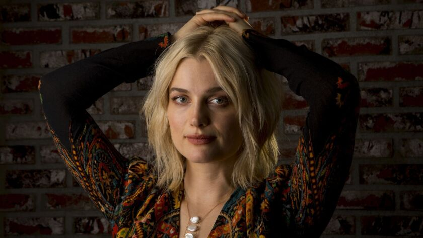 West Hollywood, CA November 7, 2018: Portrait of singer-actress Alison Sudol at Palihouse in West