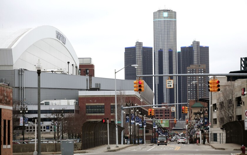 Ford Field and the General Motors world headquarters are shown in downtown Detroit in 2014.