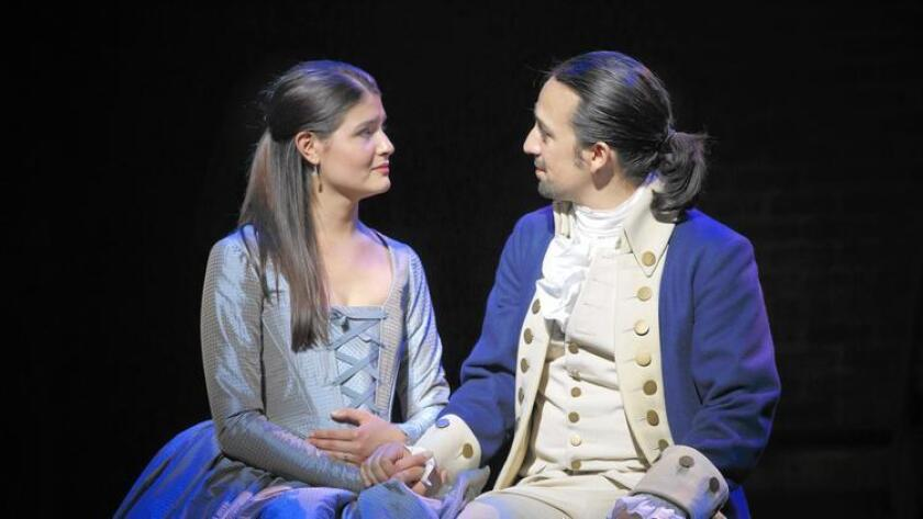 The Broadway hit musical 'Hamilton' leads nominees for the theater album Grammy