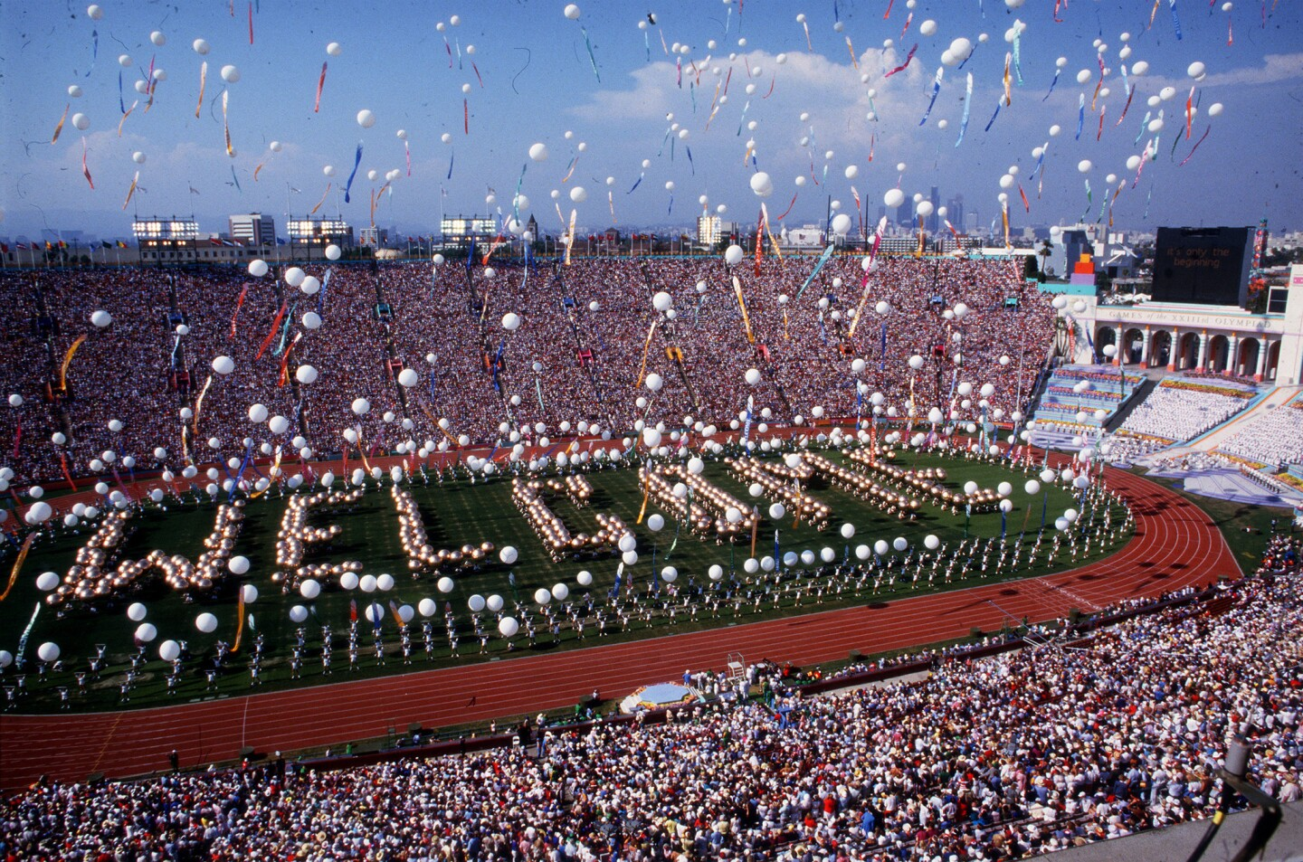 Scene at the Coliseum in Los Angeles during opening ceremonies of the 1984 Summer Olympic Games.