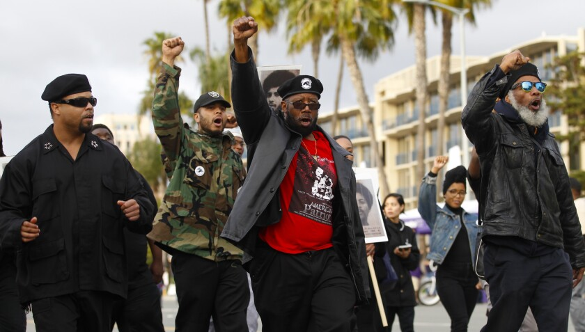 Members of the San Diego Black Panther Party march during the 2017 Martin Luther King Jr. Parade. This year's parade is Sunday along Harbor Drive.