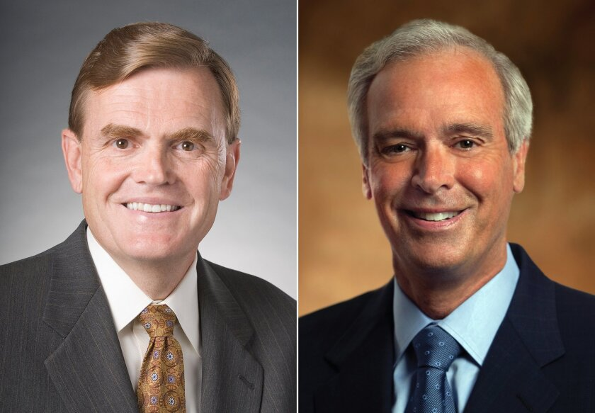 This combination made with undated images provided by UPS shows newly named CEO and current Chief Operating Officer David Abney, left, and current CEO and Chairman Scott Davis. The company said Friday that Chief Operating Officer David Abney will take the top job Sept. 1. Davis will become nonexecutive chairman at that time. (AP Photo/UPS)