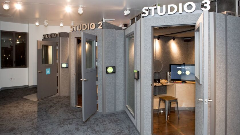 Visitors can add sound to a movie clip in professional foley studios on the first floor.