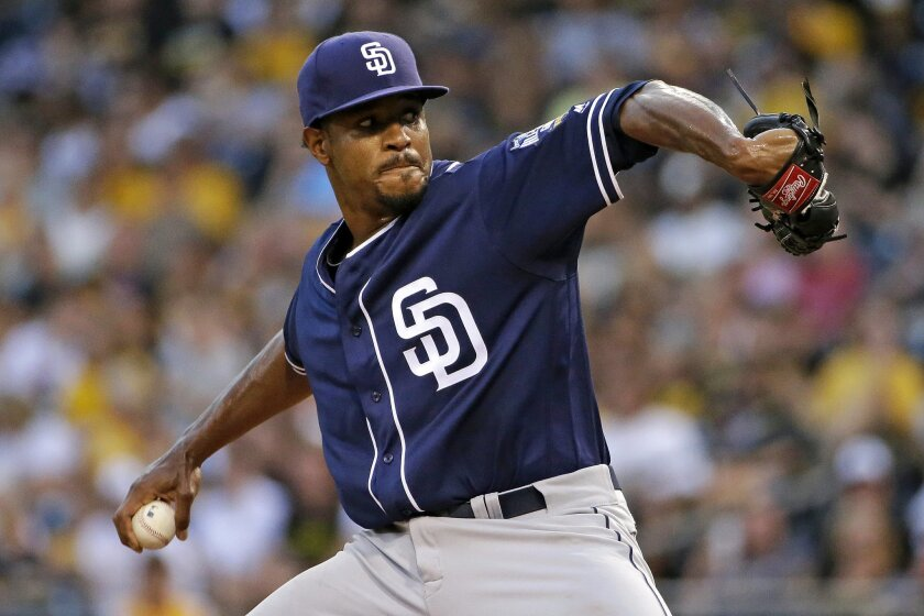 San Diego Padres starting pitcher Edwin Jackson delivers in the first inning of a baseball game against the Pittsburgh Pirates in Pittsburgh, Wednesday, Aug. 10, 2016. (AP Photo/Gene J. Puskar)