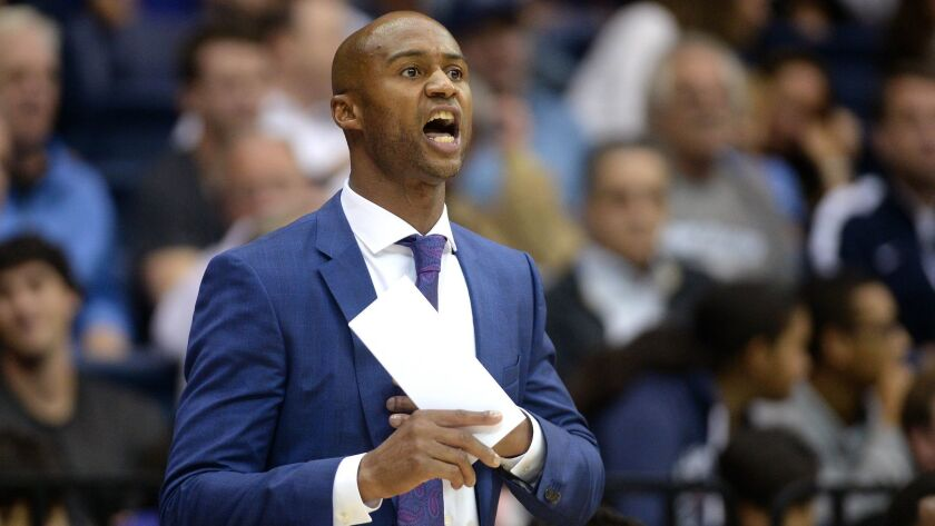 USD basketball coach Lamont Smith will guide his team against WCC preseason favorite Saint Mary's on Saturday.