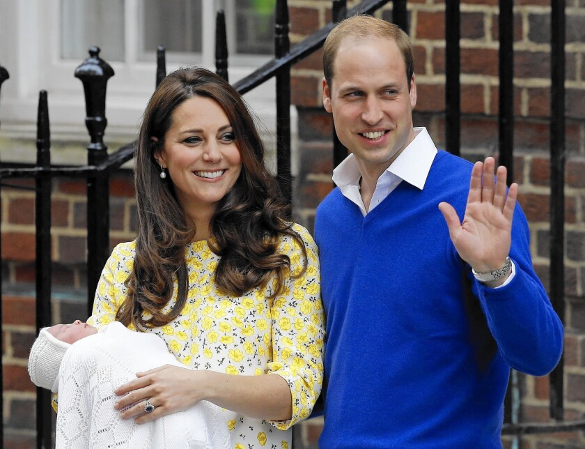 The Duke and Duchess of Cambridge with their new baby, Princess Charlotte, at St. Mary's Hospital in London.