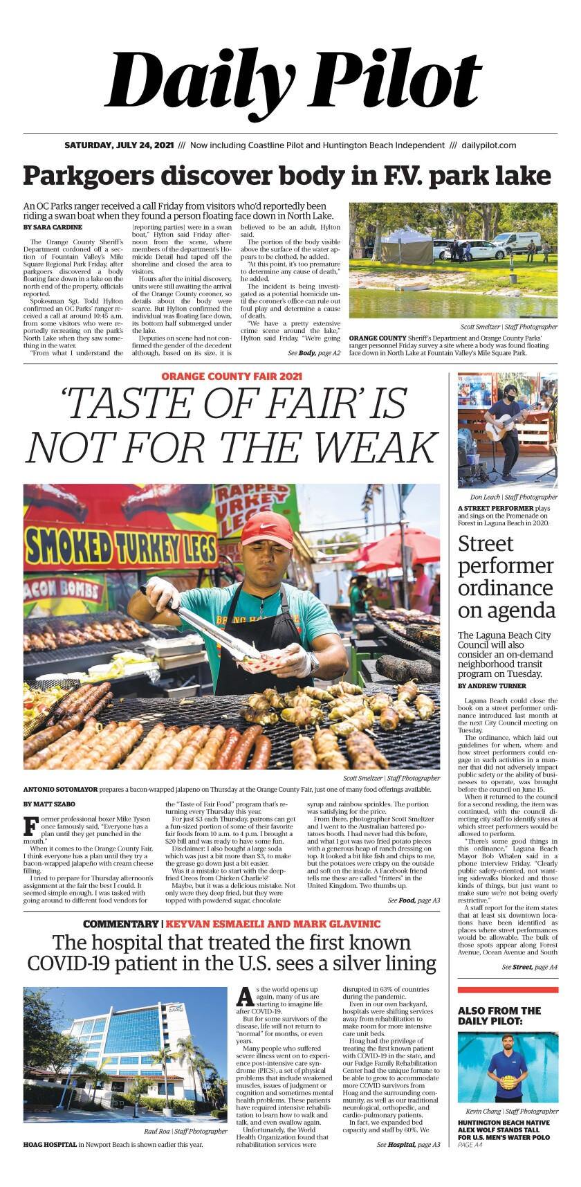 Front page of Daily Pilot e-newspaper for Saturday July 24, 2021.