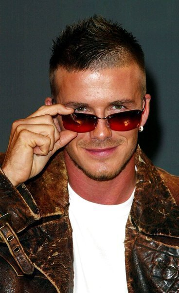 David Beckham poses at the launch of a new range of Police sunglasses in London in 2002.