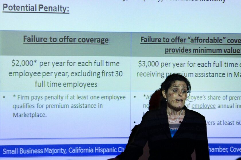 Marcia Davalos of the Small Business Majority discusses health care in Clairemont Mesa in 2014.