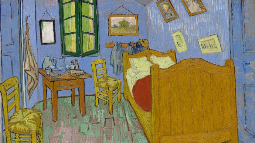 """A detail from Vincent van Gogh's """"The Bedroom,"""" 1889, which will be on display in Pasadena."""