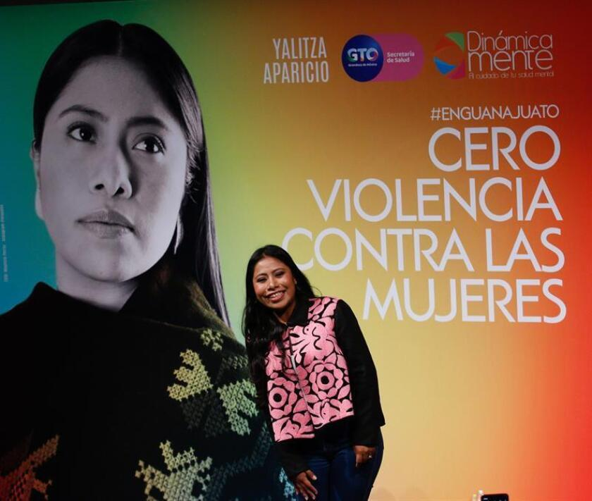 La actriz mexicana Yalitza Aparicio participa este sábado durante el Festival Internacional de Cine Guanajuato (GIFF), en la ciudad de San Miguel de Allende, en el estado de Guanajuato (México). EFE/Gustavo Becerra