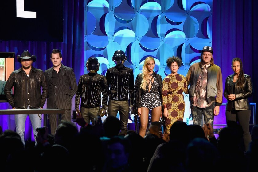 Jason Aldean, Jack White, Daft Punk, Beyonce, Regine Chassagne, Win Butler, and Alicia Keys onstage at the Tidal launch event #TIDALforALL at Skylight at Moynihan Station on Monday in New York City.