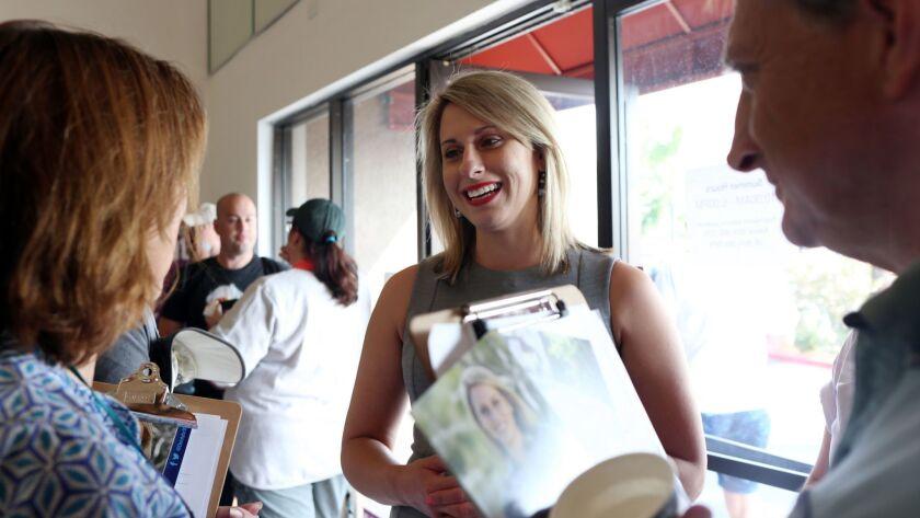Democratic congressional candidate Katie Hill at a canvassing event in Santa Clarita.