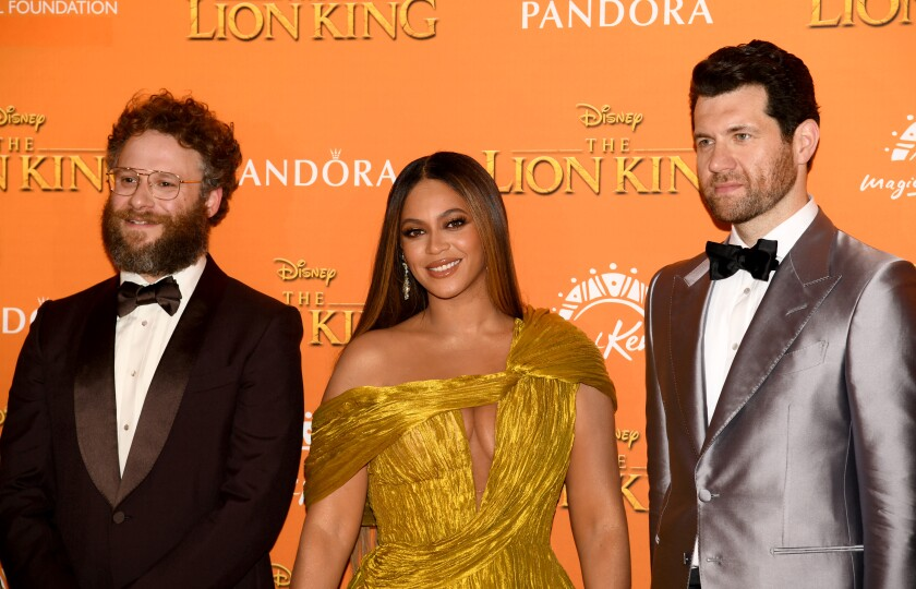 "Seth Rogen, Beyonce Knowles-Carter and Billy Eichner attend the European premiere of ""The Lion King"" in London, England"