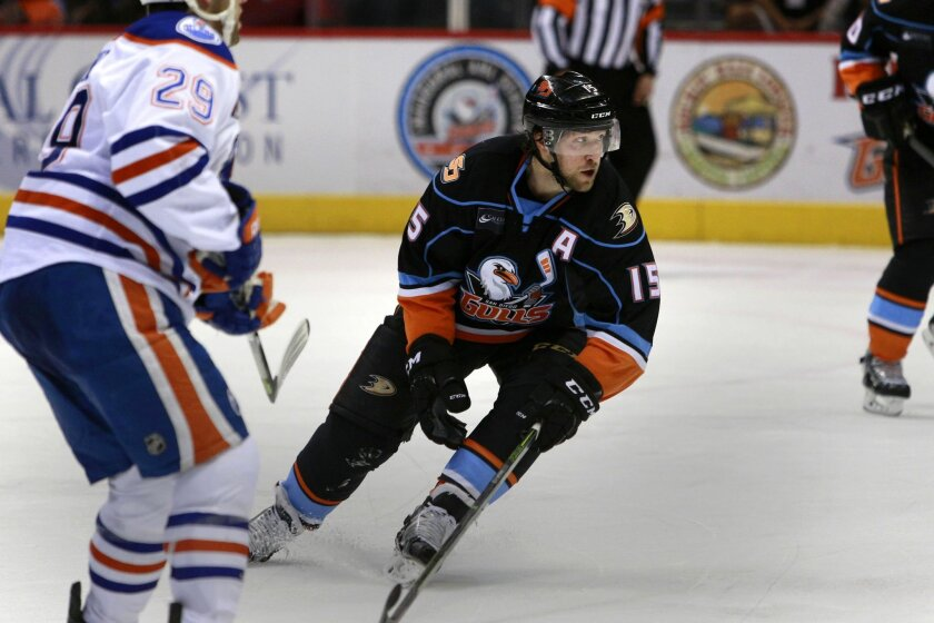 San Diego Gulls Chris Mueller scored one of two goals against Bakersfield Wednesday at Valley View Casino Center.