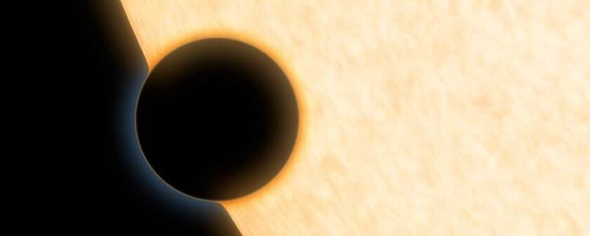 This artist's illustration shows Neptune-sized exoplanet HAT-P-11b. Astronomers report in the journal Nature that they have discovered water in its atmosphere.