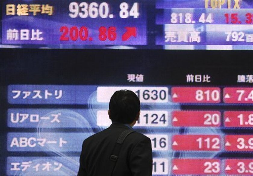 A man looks at an electronic stock price board of a securities firm in central Tokyo, Thursday, Nov. 4, 2010. Japan's benchmark Nikkei 225 stock index jumped 204.94 points, or 2.2 percent, to 9,364.92 in the morning session despite pressure on exporters as the dollar fell below the 81 yen level. (AP Photo/Koji Sasahara)